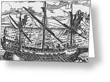 French Galley Operating In The Ports Of The Levant Since Louis Xi Greeting Card by French School
