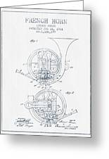 French Horn Patent From 1914 - Blue Ink Greeting Card by Aged Pixel