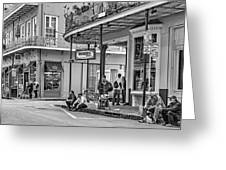 French Quarter - Hangin' Out BW Greeting Card by Steve Harrington