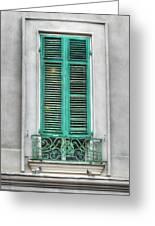 French Quarter Window In Green Greeting Card by Brenda Bryant