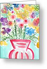 Fresh Picked Flowers- Contemporary Watercolor Painting Greeting Card by Linda Woods