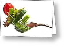 Fresh vegetables on a fork Greeting Card by Elena Elisseeva