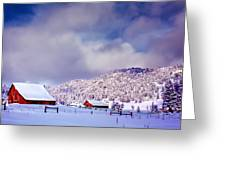 Freshly Fallen Snow on the Ranch Greeting Card by Teri Virbickis