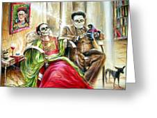 Frida And Diego With Pet Monkey Greeting Card by Heather Calderon