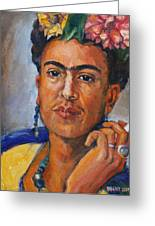 Frida Kahlo Greeting Card by Becky Kim