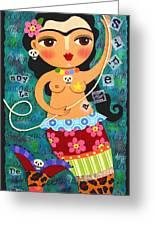 Frida Kahlo Mermaid Queen Greeting Card by LuLu Mypinkturtle