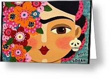 Frida Kahlo with Flowers and Skull Greeting Card by LuLu Mypinkturtle