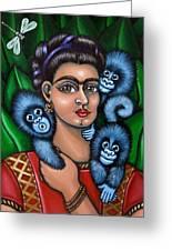 Fridas Triplets Greeting Card by Victoria De Almeida