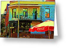 Friends On The Bench At Cartel Street Food Mexican Restaurant Rue Clark Art Of Montreal City Scene Greeting Card by Carole Spandau