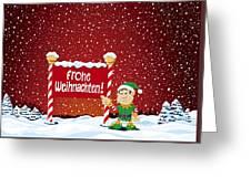 Frohe Weihnachten Sign Christmas Elf Winter Landscape Greeting Card by Frank Ramspott