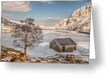 Frozen Lake Ogwen Greeting Card by Adrian Evans