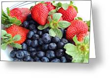 Fruit 2- Strawberries - Blueberries Greeting Card by Barbara Griffin