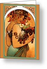 Fruit Greeting Card by Alphonse Maria Mucha