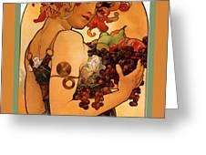 Fruit Greeting Card by Alphonse Maria Mucha