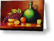 Fruit And Jug Greeting Card by Gene Gregory