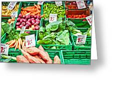 Fruit And Vegetable Stall Greeting Card by Tom Gowanlock