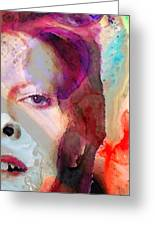Full Color - David Bowie Art Greeting Card by Sharon Cummings