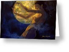 Full Moon Greeting Card by Dorina  Costras