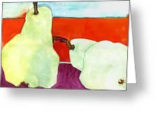 Fundamental Pears Still Life Greeting Card by Blenda Studio