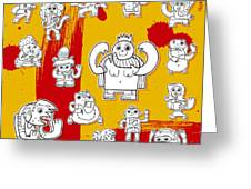 Funny Doodle Characters Urban Art Greeting Card by Frank Ramspott