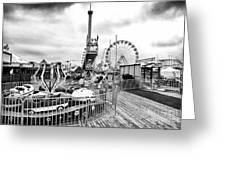 Funtown Rides Greeting Card by John Rizzuto