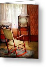 Furniture - Chair - The Invention Of Television  Greeting Card by Mike Savad