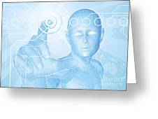 Future Man Touch Screen Concept Greeting Card by Christos Georghiou