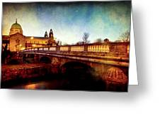 Galway Cathedral And The Salmon Weir Bridge Greeting Card by Mark Tisdale
