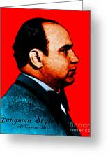 Gangman Style - Al Capone C28169 - Red - Painterly Greeting Card by Wingsdomain Art and Photography