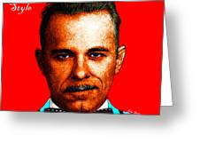 Gangman Style - John Dillinger 13225 - Red - Color Sketch Style - With Text Greeting Card by Wingsdomain Art and Photography