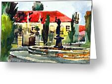 Garden Do Torel Fountain In Lisbon Greeting Card by Anna Lobovikov-Katz