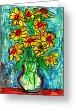 Garden Flower Mono-print Greeting Card by Don Thibodeaux