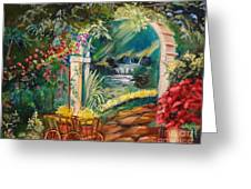 Garden Of Serenity Beyond Greeting Card by Jenny Lee