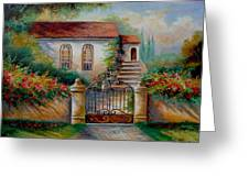 Garden scene with villa and gate Greeting Card by Gina Femrite