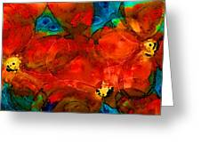 Garden Spirits - Vibrant Red Flowers By Sharon Cummings Greeting Card by Sharon Cummings
