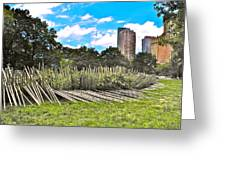 Garden With Bamboo Garden Fence In Battery Park In New York City-ny Greeting Card by Ruth Hager