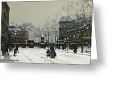 Gare Du Nord Paris Greeting Card by Eugene Galien-Laloue