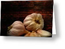 Garlic Greeting Card by Lourry Legarde