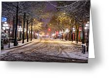 Gastown Snow Greeting Card by Alexis Birkill