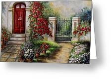 Gate To The Hidden Garden  Greeting Card by Gina Femrite