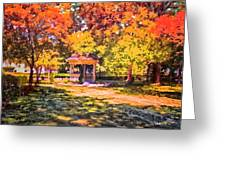 Gazebo On A Autumn Day Greeting Card by Thomas Woolworth