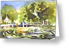 Gazebo With Pond And Fountain II Greeting Card by Kip DeVore
