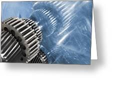 gears industrial engineering in blue Greeting Card by Christian Lagereek