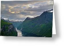 Geirangerfjord Sunset Greeting Card by Benjamin Reed