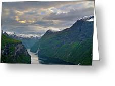 Geirangerfjord Sunset Greeting Card by Benjamin Reed
