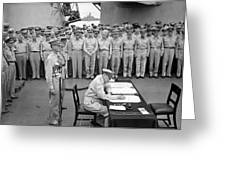 General Macarthur Signing The Japanese Surrender Greeting Card by War Is Hell Store