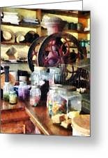 General Store With Candy Jars Greeting Card by Susan Savad