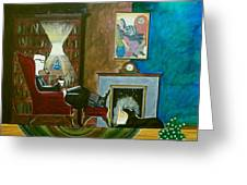 Gentleman Sitting In Wingback Chair Enjoying A Brandy Greeting Card by John Lyes