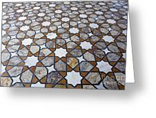 Geometric Marble Floor Design At Lahore Fort Greeting Card by Robert Preston
