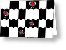 Geometric Minimalistic Art Black White Red Abstract Print No.228. Greeting Card by Drinka Mercep